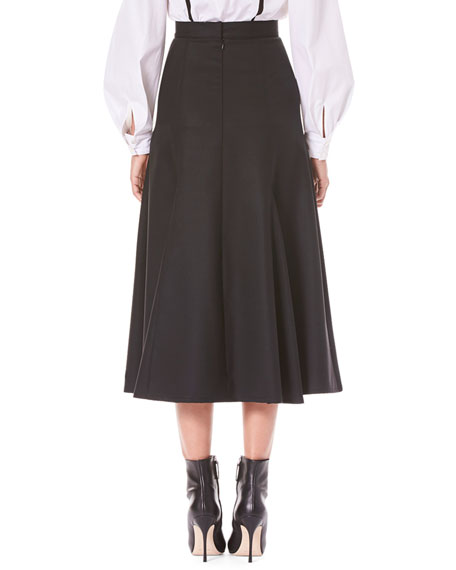 Flared Calf-Length Wool Midi Skirt