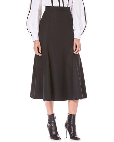 Flared Calf-Length Wool Midi Skirt