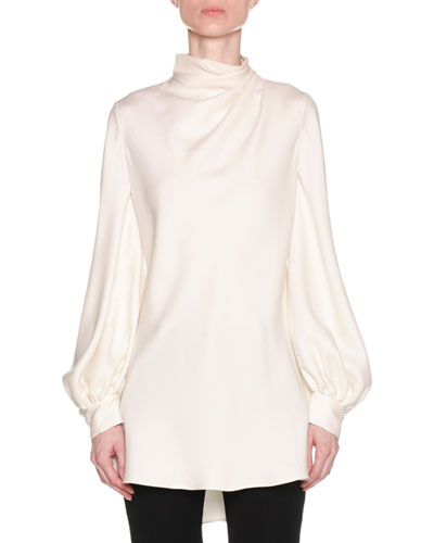 e989a093a9c3eb Giorgio Armani Ruched-Neck Long-Sleeve Silk Cady Asymmetric Tunic Blouse