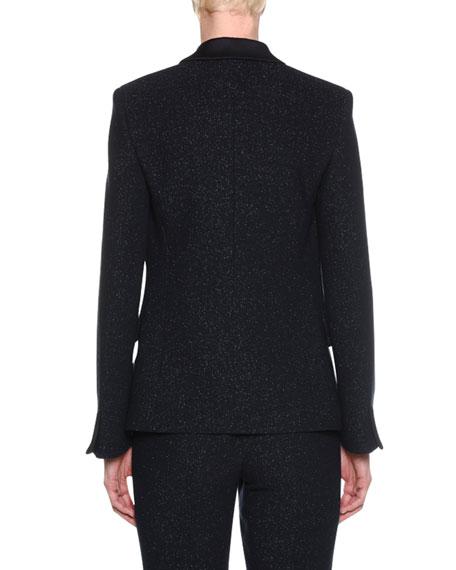 One-Button Metallic Double-Face Wool Blazer w/ Satin Collar