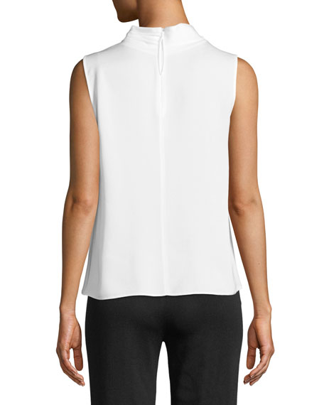 Ruched High-Neck Sleeveless Silk Shell Top