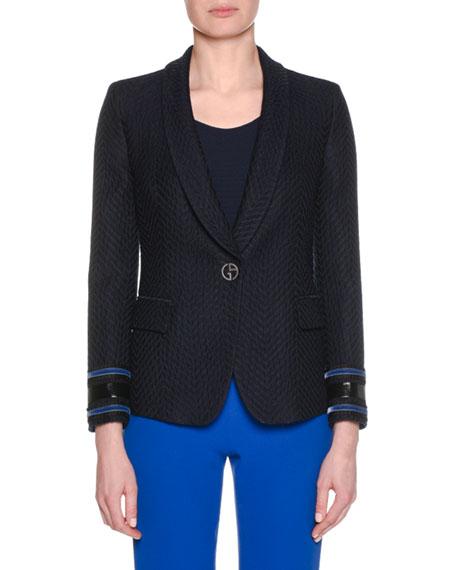 One-Button Herringbone Jacquard Wool-Blend Jacket w/ Velvet Cuff