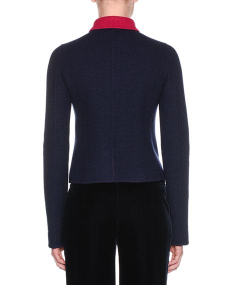 Zip-Front Bonded Bicolor Cashmere Jersey Jacket