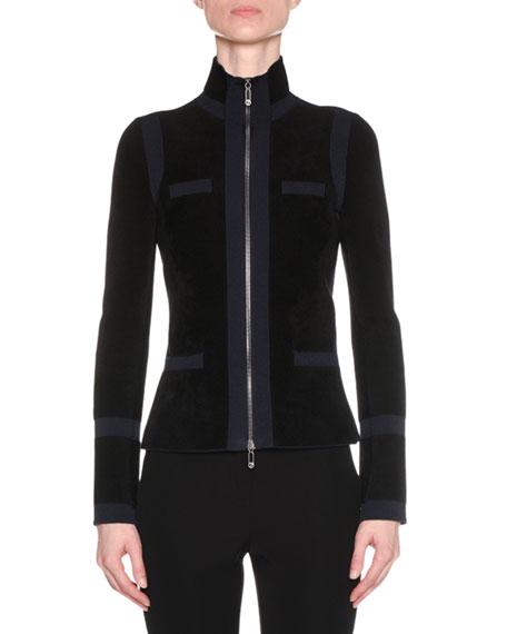 Zip-Front Bicolor Seamless Jacket