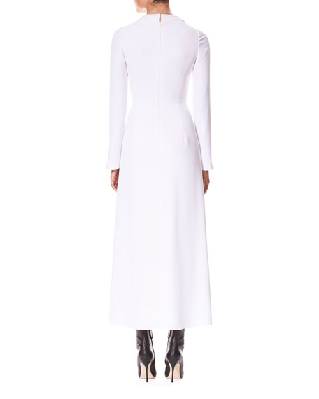 Carolina Herrera Plunging-Neck Twist-Front Long-Sleeve A-Line Cocktail Dress
