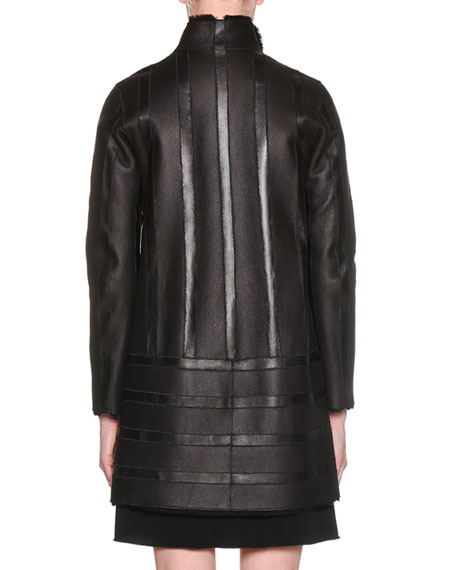 Snap-Button Shearling Lamb Blocked Leather Reversible Car Coat