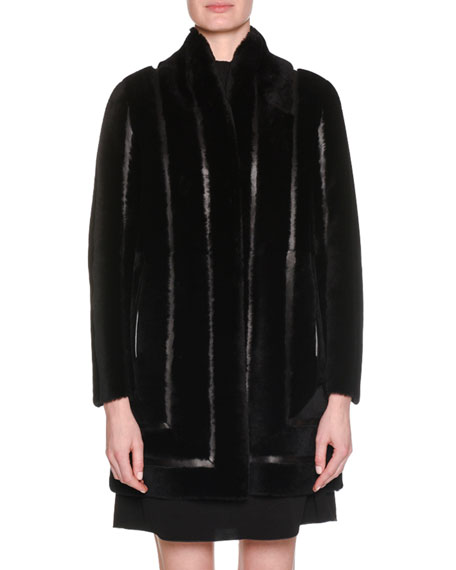Giorgio Armani Snap-Button Shearling Lamb Blocked Leather