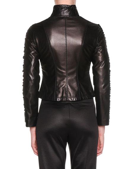 Zip-Front Lamb Leather Jacket w/ Velvet Side Stripe