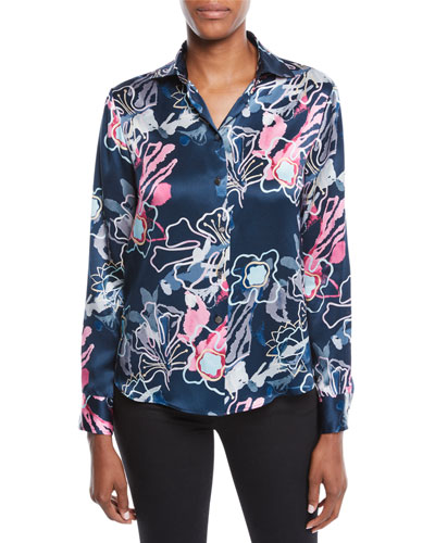 Long-Sleeve Button-Front Abstract Floral-Print Silk Blouse