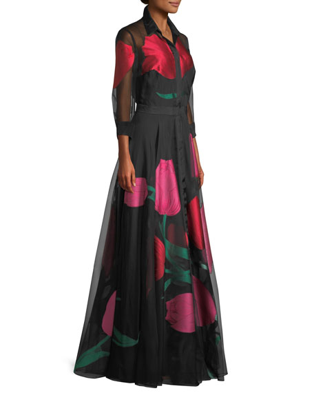 Tulip-Print Organza Evening Gown