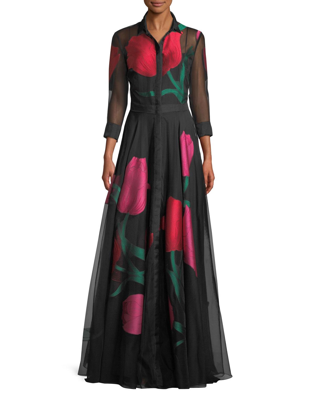 Carolina Herrera Tulip-Print Organza Evening Gown | Neiman Marcus