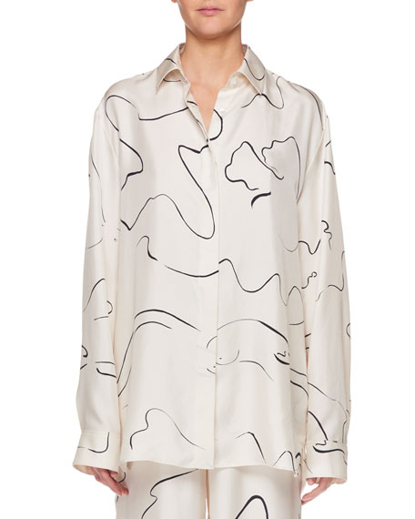 THE ROW Big Sisea Button-Down Long-Sleeve Silk Shirt