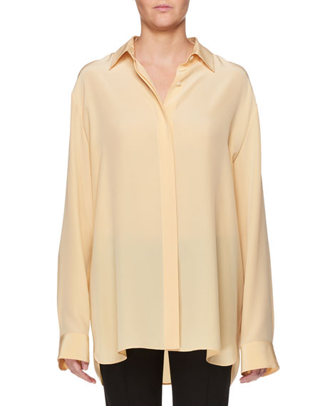 Big Sisea Button-Front Oversized Silk Shirt