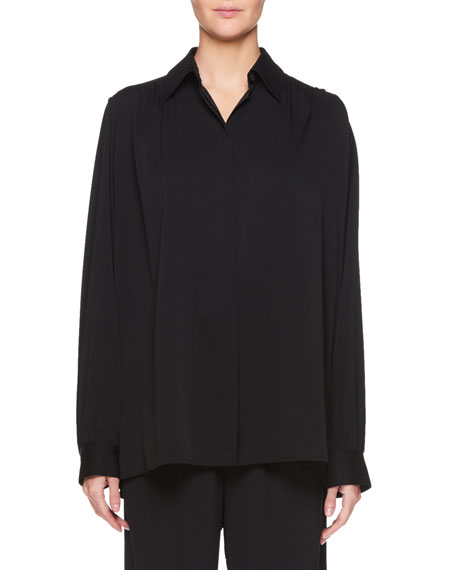 Choi Button-Front Long-Sleeve Silk Top