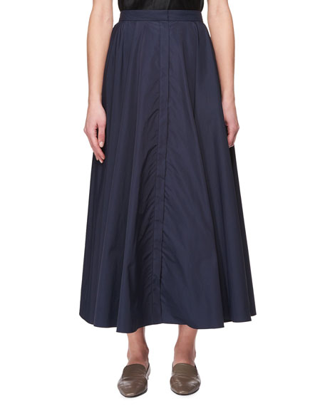 Saga Long Pleated A-Line Skirt, Navy