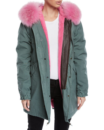 Fox-Fur Trim Canvas Parka Jacket w/ Teddy Velvet Lining