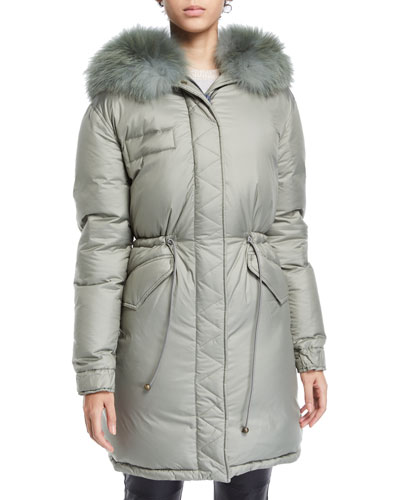 Fox-Collar Zip-Front Padded Down Puffer Coat