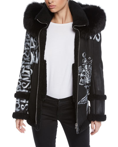 Graffiti-Print Zip-Front Oversized Biker Jacket w/ Shearling Fur