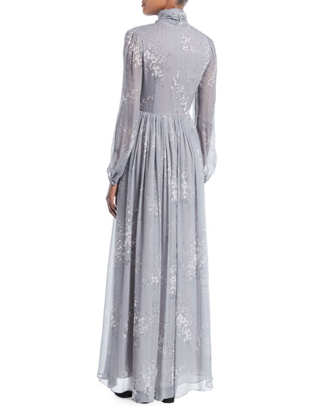 Tie-Neck Long-Sleeve Floral-Print Silk Crinkled Chiffon Long Dress