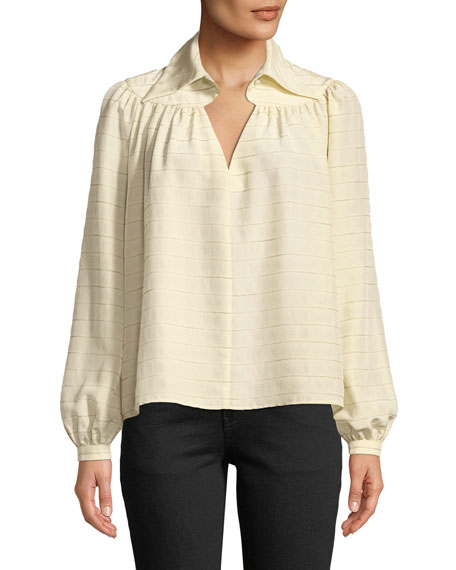 Long-Sleeve Diamond-Keyhole Yoked Striped Silk Blouse