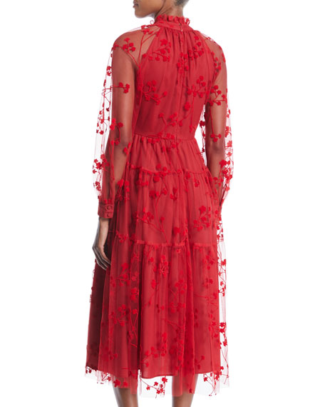 Long-Sleeve Floral-Embroidered Mock-Neck Tulle Midi Cocktail Dress with Pockets