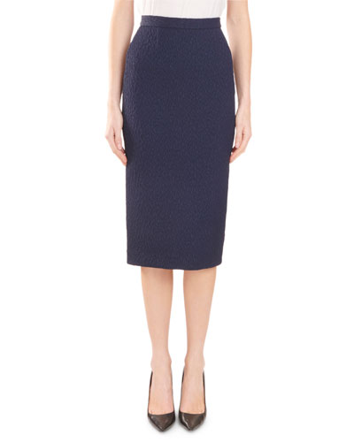Arreton Puckered-Stretch Pencil Skirt with Back Zip
