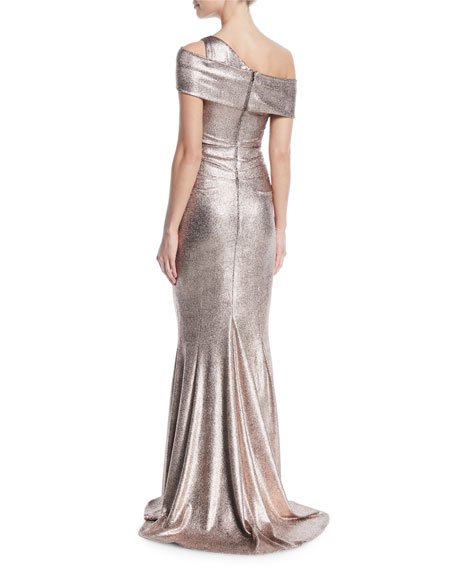 Moa One-Shoulder Laminated Scuba Jersey Gown