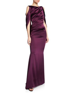 2dcee8b9c0 Talbot Runhof Ponceau High-Neck Draped Bodice Shiny   Matte Crepe Satin Evening  Gown