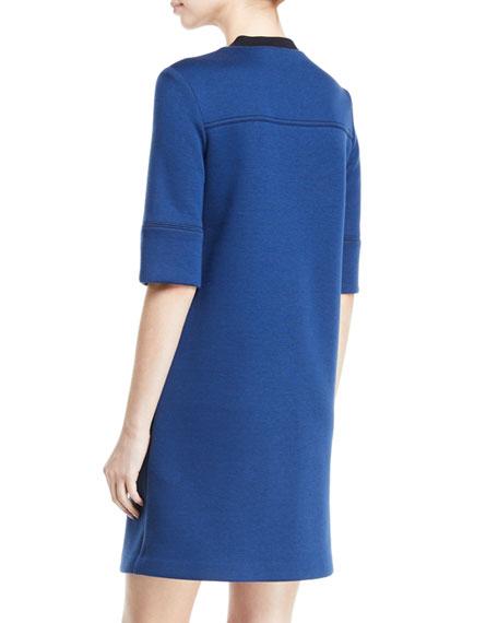 3/4-Sleeve 1/2-Zip Paneled Double Knit Dress
