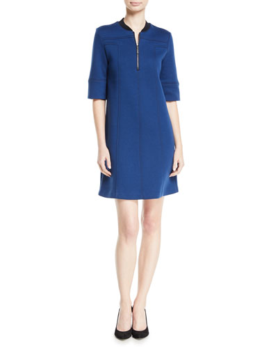 3/4-Sleeve 1/2-Zip Paneled Double Knit Dress