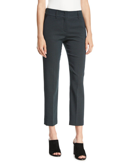 Piazza Sempione Kim Slim-Leg Check Cropped Trousers w/