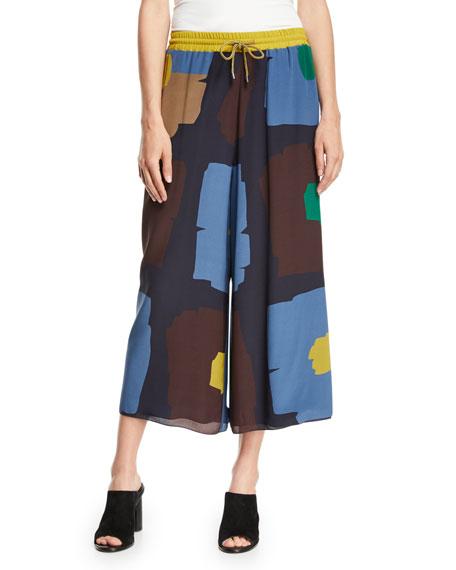 Geometric Floral-Print Wide-Leg Cropped Drawstring Pants