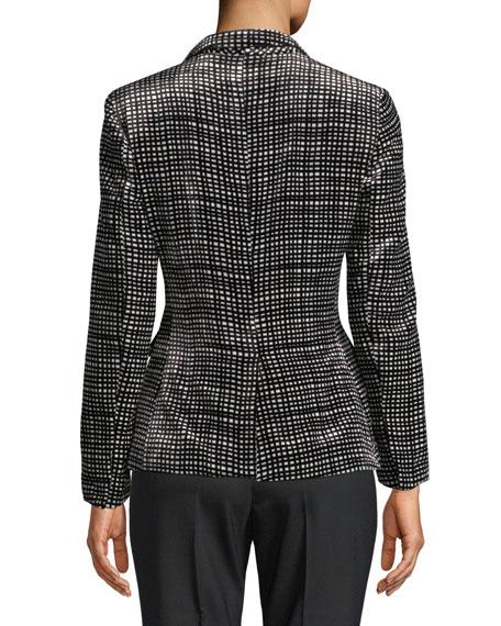 Velvet Graphic-Plaid Single-Breasted Jacket
