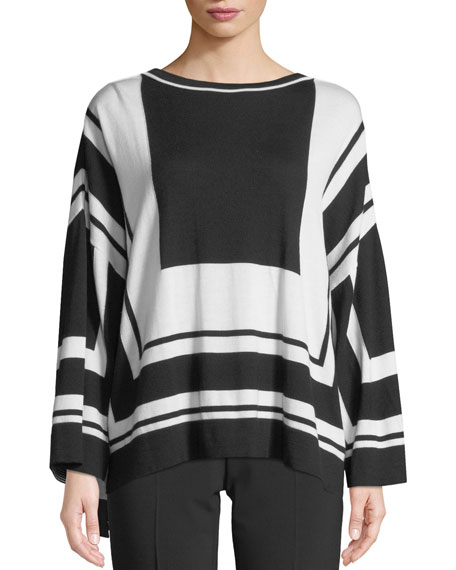 Graphic-Stripe Wool/Silk Sweater