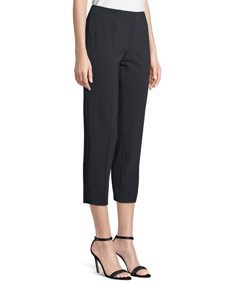 Image 3 of 3: Audrey Straight-Leg Stretch-Wool Cropped Pants