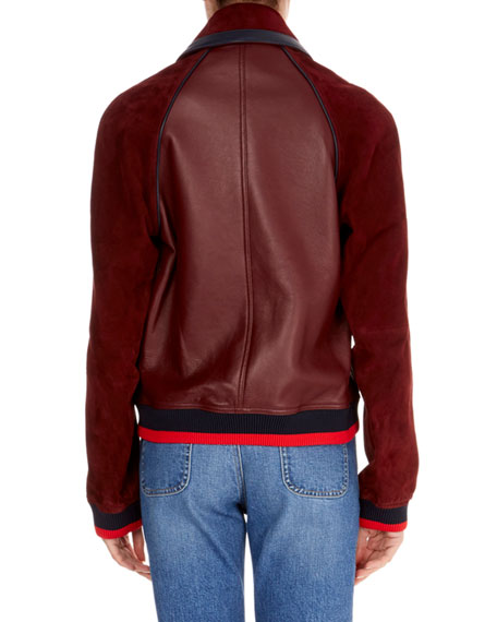 Zip-Front Leather Bomber Jacket w/ Ribbed Hem & Cuffs