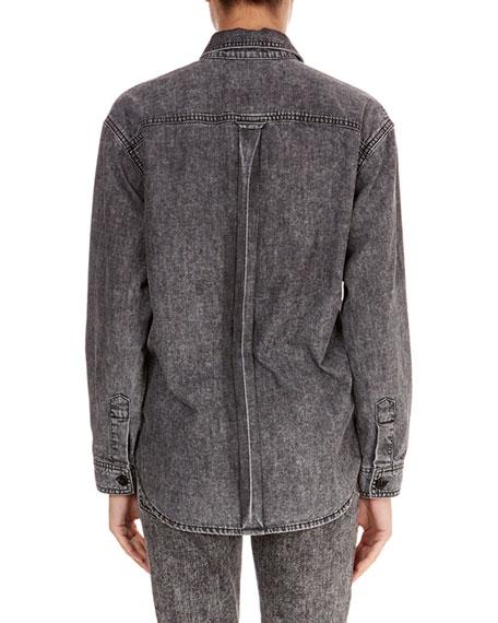 Long-Sleeve Button-Front Cotton Jean Shirt