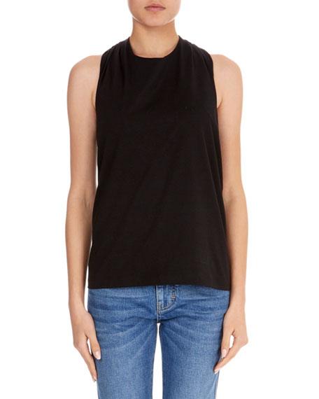 Sleeveless Knot-Back Cotton T-Shirt