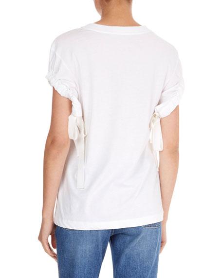 Crewneck Ruched-Tie Short-Sleeve Cotton T-Shirt