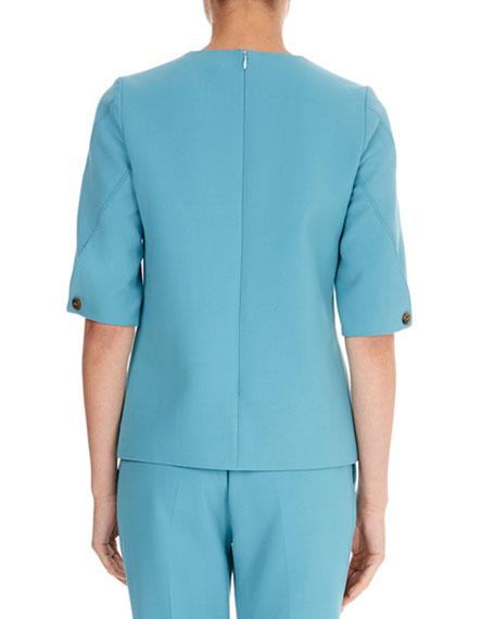 Round-Neck Half-Sleeve A-Line Wool-Blend Top