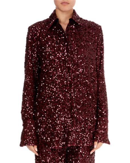 Button-Front Long-Sleeve Sequin Shirt