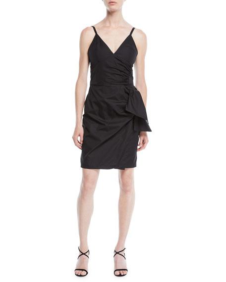 Victoria Victoria Beckham V-Neck Sleeveless Cotton Sundress w/ Bow Faux-Wrap Skirt
