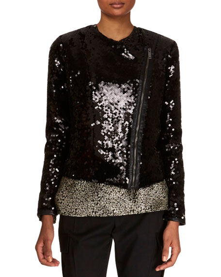 Zip-Front Paillettes Jacket