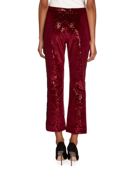 Flared Velvet Paillettes Cropped Pants with Tuxedo Stripes
