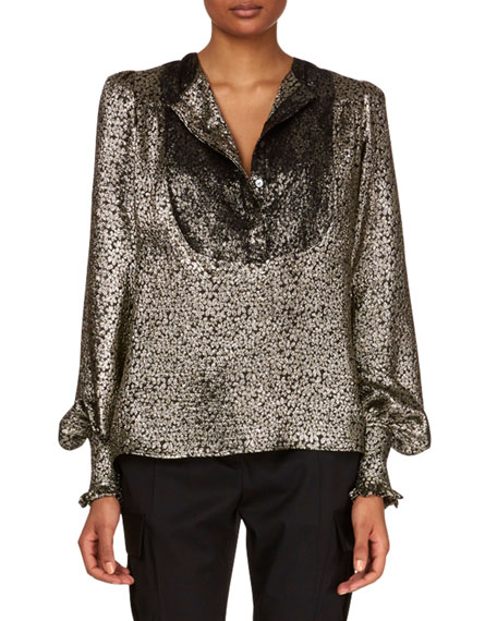 Blouson-Sleeve Metallic-Silk Blouse w/ Lace Plastron