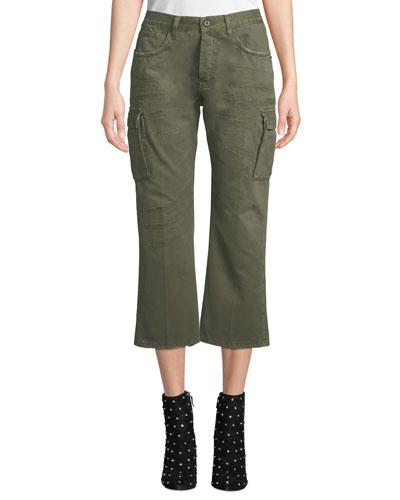 Wide-Leg Cropped Cargo Pants