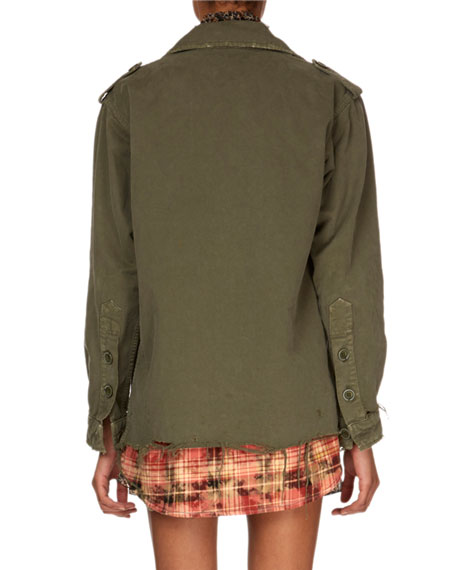 Button-Down Long-Sleeve Military Jacket w/ Plaid Shirttail Hem