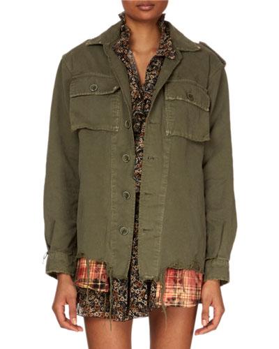 Button-Down Long-Sleeve Military Jacket w/ Plaid Shirttail Hem