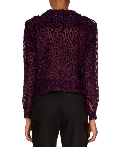 V-Neck Button-Down Velvet Devoré Top