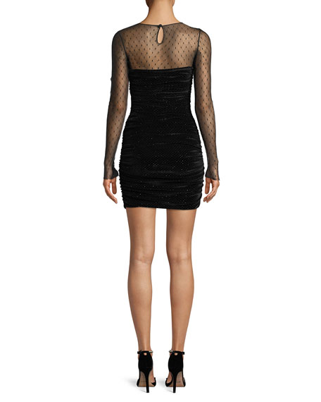 Long-Sleeve Dotted Sheer-Top Velvet Mini Cocktail Dress